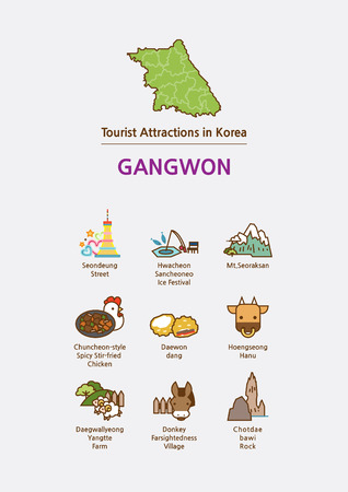 Tourist attractions icon illustration - Gangwon Province, South Korea Иллюстрация