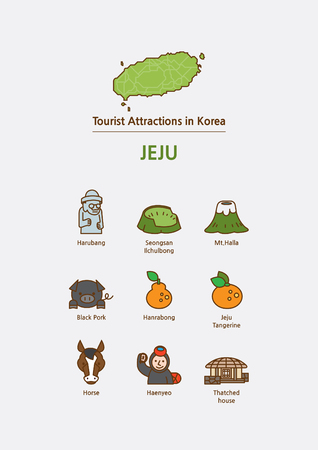 Tourist attractions icon illustration - Jeju Island, Soth Korea