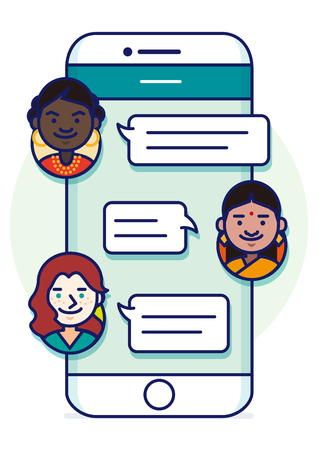 sns: Smartphone text conversation illustration with face icons - multi national,race friends