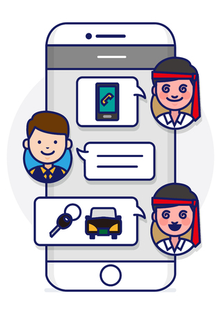 Smartphone text conversation illustration with face icons - ordering,calling designated driver service