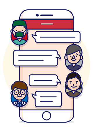 sns: Smartphone text conversation illustration with face icons - consulting doctors Illustration