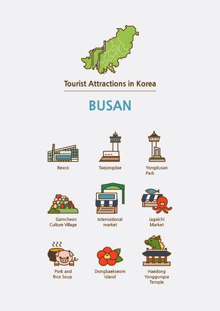 Tourist attractions icon illustration - Busan,Pusan City, South Korea
