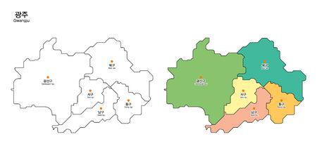 Map of district - Gwangju Province, South Korea