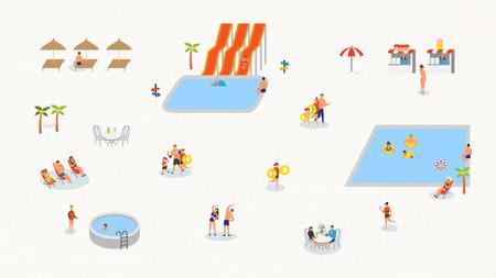 Minimal,simple illustration - Swimming pool,summer park
