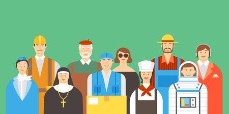 Group of people illustration - Various occupation,job,career