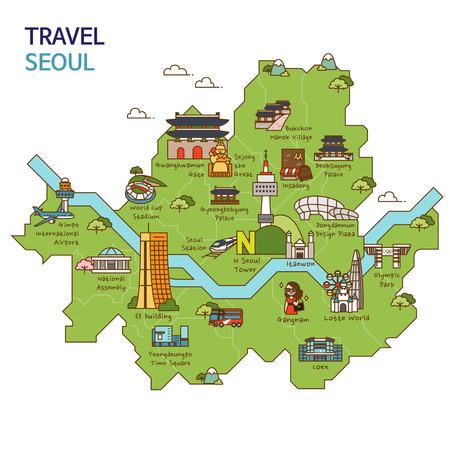 도시 여행, 여행지도 일러스트 - 서울, 한국