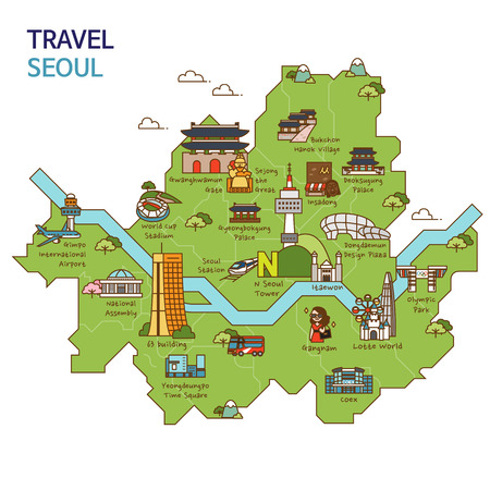 City tour,travel map illustration - Seoul City, South Korea Vectores