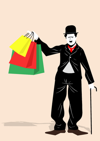 Minimal,simple illustration of famous figures - mime with shopping bags Illustration