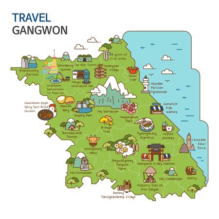市内観光、旅行地図イラスト - 江原、韓国