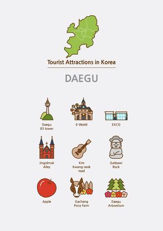 Tourist attractions icon illustration - Daegu City, South Korea