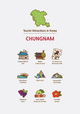 Tourist attractions icon illustration - Chungnam Province, South Korea Vektorové ilustrace