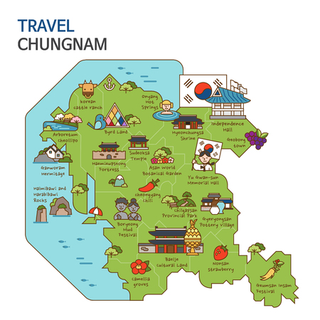 City tour,travel map illustration - Chungnam Province, South Korea Illustration