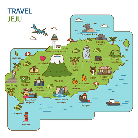 Voyage en ville, carte de voyage illustration - Jeju Island, Corée du Sud Banque d'images - 84865936