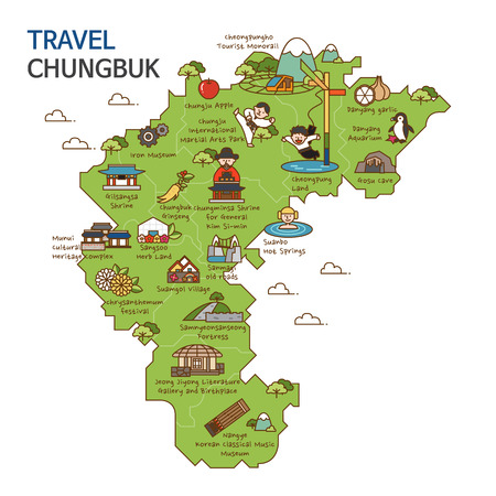 City tour,travel map illustration - Chungbuk Province, South Korea