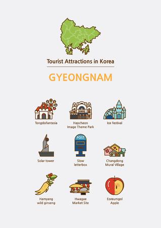 관광 명소 아이콘 그림 - 경상남도, 한국