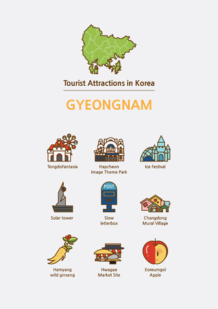 Tourist attractions icon illustration - Gyeongnam Province, South Korea