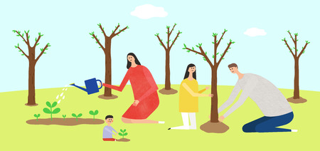 Eco-friendly illustration - Family planting trees,arbors,forests