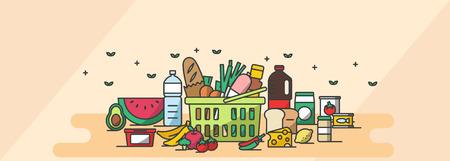 Conjunto de iconos lindo, conjunto de ilustración - Ingredientes frescos, frutas, verduras de compras en tono amarillo, fondo Foto de archivo - 84865838