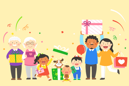 Interracial, intercultural family illustration - Three generation family holding gift boxes, presents