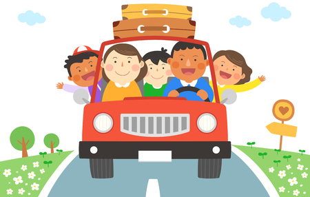 Interracial, intercultural family illustration - family car road trip