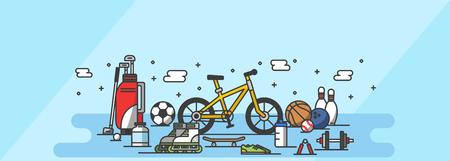 Cute icon set, ensemble illustration - Leisure, hobbies in blue tone background