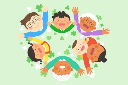 Interracial, illustration de la famille interculturelle - Trois générations d'étirements dans le champ vert Banque d'images - 84865997