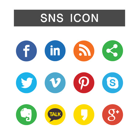 SNS Icon set, ensemble illustration in white background isolated