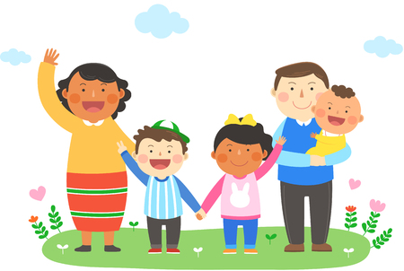 Interracial, intercultural family illustration - parents and children, kids holding hands together 矢量图片