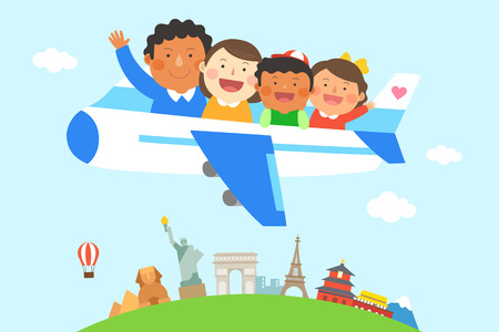 Interracial, intercultural family illustration - world travel, trip by airplane