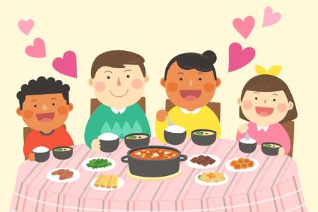 Interracial, intercultural family illustration - parents and children, kids having dinner, meal together Illustration