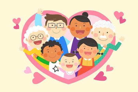 Interracial, intercultural family illustration - three generation family in heart frame