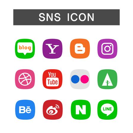 격리 된 흰색 배경에서 SNS 아이콘 집합, 앙상블 그림 일러스트