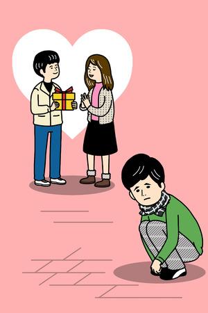 Funny illustration - Sad singles Illustration