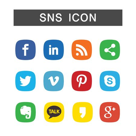 SNS-Ikonensatz, Ensembleillustration im weißen Hintergrund lokalisiert