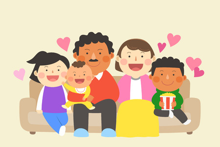 Interracial, intercultural family illustration - parents and children, kids sitting down on couch/sofa