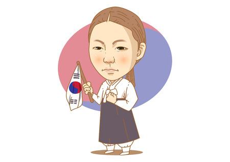 Caricaturas de personajes históricos famosos aislados en blanco - activista del movimiento de liberación de Corea, Yu Kwan Soon