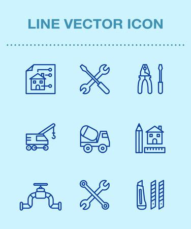 One color line icon set, ensemble illustration - Construction work site Illustration