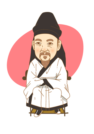Famous historical figures caricature isolated in white - Korean, the great scholar YULGOK Yi Yi