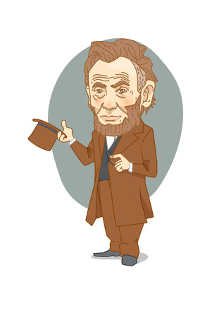 Famous historical figures caricature isolated in white - Lincoln