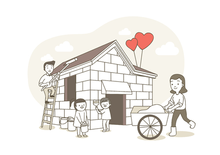 Charity,donation illustration - Working for neighbors