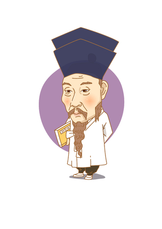 Famous historical figures caricature isolated in white - Korean great scholar, Dasan Jeong Yak-yong 向量圖像