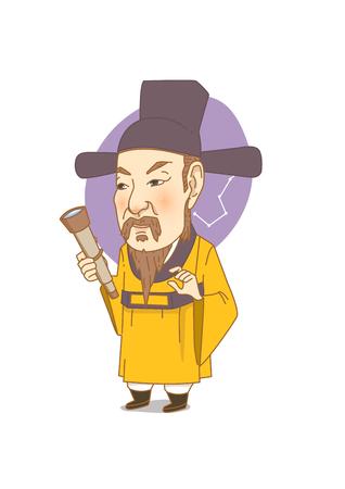 ホワイト - 韓国の偉大な学者李仁川で分離された有名な歴史上の人物の似顔絵