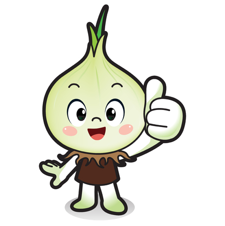 Fresh vegetables, fruits character icon isolated in white - White onion Illustration