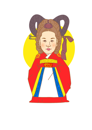 Famous historical figures caricature isolated in white - Korean, Empress Myeongseong 免版税图像 - 84866034