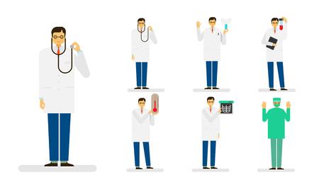 Professional occupation icon set, ensemble illustration - Male doctor, surgeon