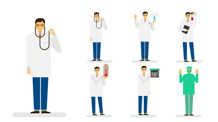 Professional occupation icon set, ensemble illustration - Male doctor, surgeon