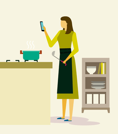 Woman life with smartphone,devices illustration - Cooking at kitchen with smartphone Illustration