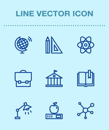 One color line icon set,ensemble illustration - physics,science