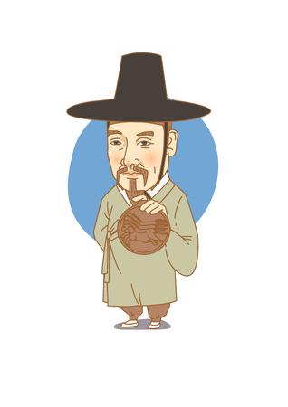 ホワイト - で分離された有名な歴史上の人物の似顔絵ロイヤル秘密インスペクター公園文洙韓国語