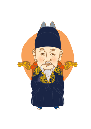 Famous historical figures caricature isolated in white - Korean, great king Heungseon Daewongun